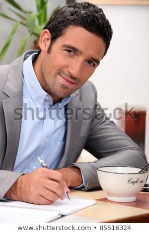 glimlachend · 30 · jaar · oude · man · zwart · haar · bruine · ogen · portret - stockfoto © photography33