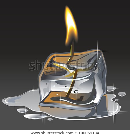 Ice and fire. A candle from an ice floe. Vector. Stock photo © christina_yakovl