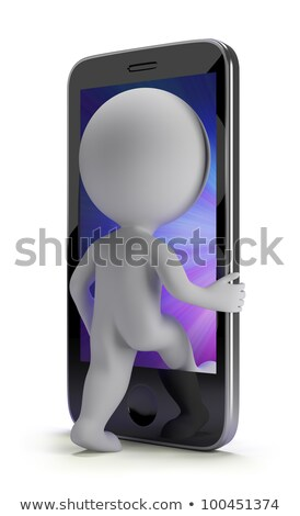 3d small people   login to your phone stock photo © anatolym