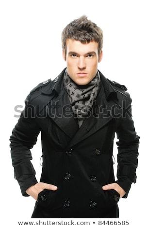 若い男 レインコート 美しい 暗い 男 ストックフォト © utorro
