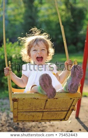 küçük · kız · oynama · park · yeşil · yaprak - stok fotoğraf © dashapetrenko