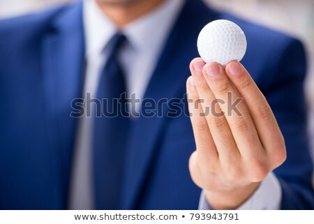 Golfozó tart golfütők mosolyog férfi tájkép Stock fotó © photography33