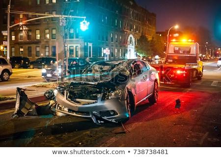 Autó baleset fejjel lefelé tél vihar út Stock fotó © csakisti