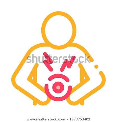 Jovem mulher loira dor de estômago barriga mão Foto stock © Mazirama