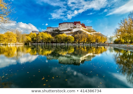 Işaret ünlü saray tibet duvar mavi Stok fotoğraf © bbbar