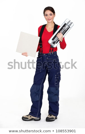 woman with a tile cutter stock photo © photography33