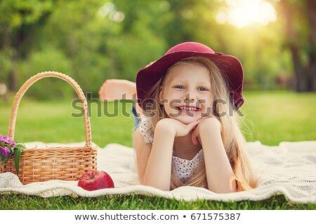 little girl playing with fruits stock photo © pzaxe