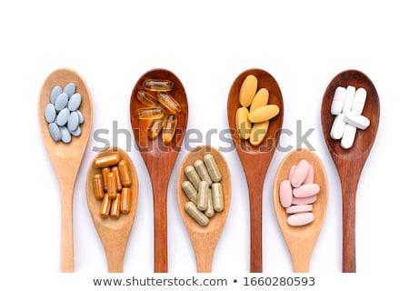 Tablet kaşık c vitamini arka plan sarı sağlıklı yaşam Stok fotoğraf © jakgree_inkliang