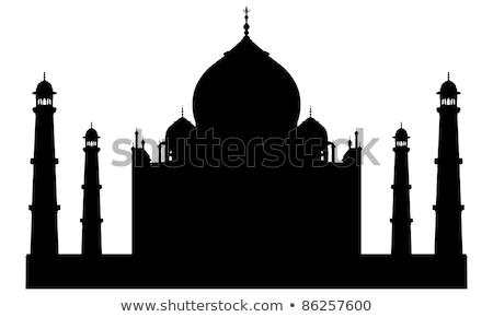 Sziluett Taj Mahal indiai zászló utazás vidék Stock fotó © perysty