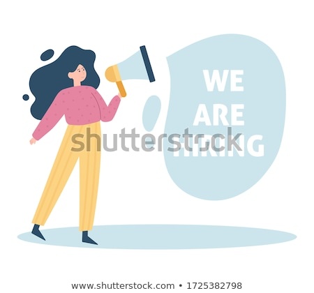 Young woman shouting into a megaphone Stock photo © photography33