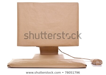 Parcel packages with computer mouse on white Stock photo © Sandralise