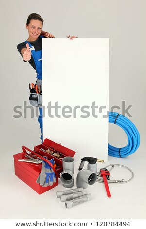 woman with blank board toolbox and thumbs up stock photo © photography33