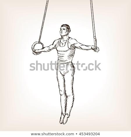 Gymnastiek ringen potlood tekening Stockfoto © involvedchannel