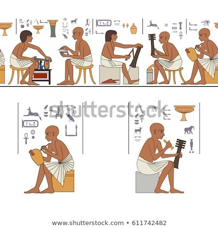 Egipcjanin odizolowany biały ściany boga wakacje Zdjęcia stock © OleksandrO