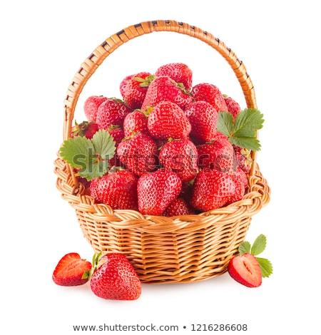 イチゴ · バスケット · 新鮮な · ジューシー · 木製 · 孤立した - ストックフォト © Gbuglok