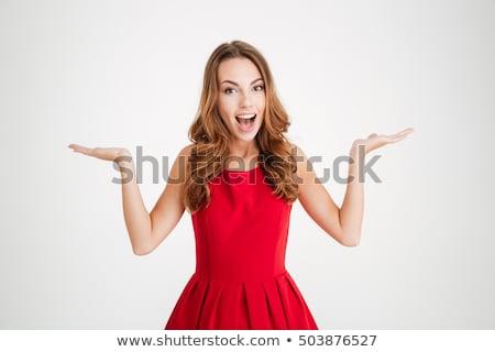 sexy · sonriendo · joven · lencería · guantes - foto stock © carlodapino