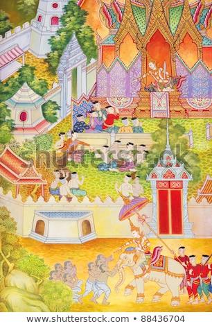 ancient thai pattern on buddha temple wall stock photo © zmkstudio