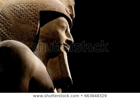 Ancient Egyptian Pharaoh Statue on Black Stock photo © AlienCat