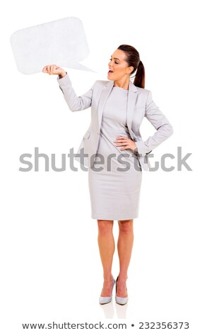 elegant young businesswoman with blank white sign stock photo © lithian