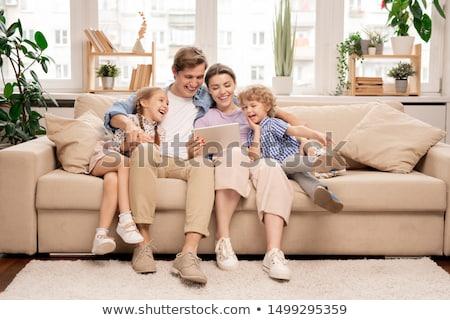 Cartoon rodziny bawialnia szczęśliwą rodzinę dziewczyna uśmiech Zdjęcia stock © Thodoris_Tibilis