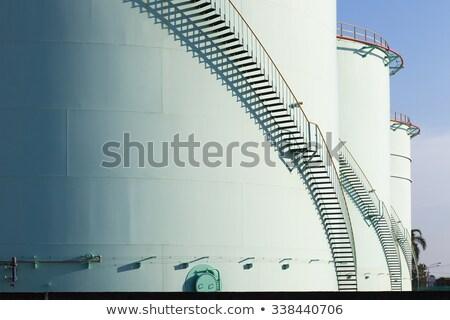 white tanks in tank farm with staircase stock photo © meinzahn
