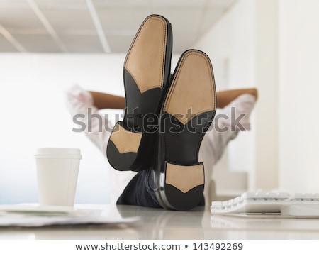Asya işadamı rahatlatıcı ayaklar yukarı üst Stok fotoğraf © Farina6000