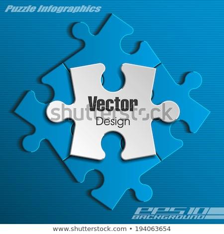Colorato puzzle lucido stile quattro colore Foto d'archivio © make