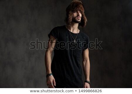 Fiatal vonzó férfi visel szőr fickó Stock fotó © konradbak