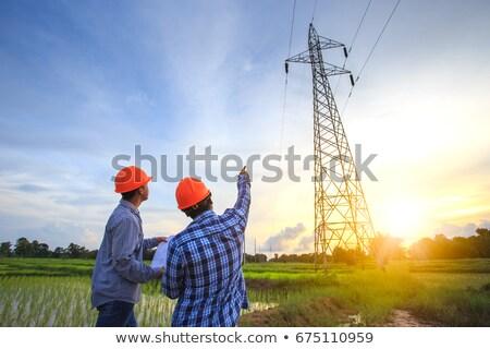 電気 青空 雲 ネットワーク ケーブル 産業 ストックフォト © eltoro69