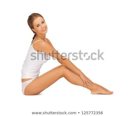 Vrouw katoen aanraken benen foto mooie vrouw Stockfoto © dolgachov