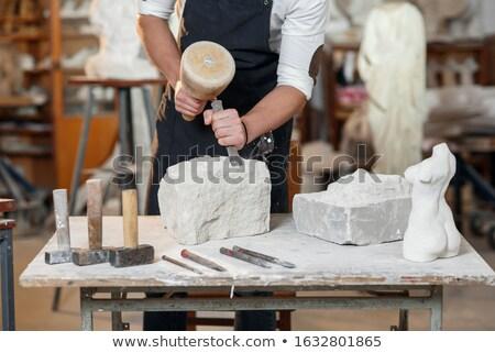 Sculpteur travail pierre sculpture travaux sable Photo stock © Zerbor