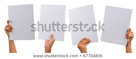 Asian man hand holding blank sign Stock photo © szefei