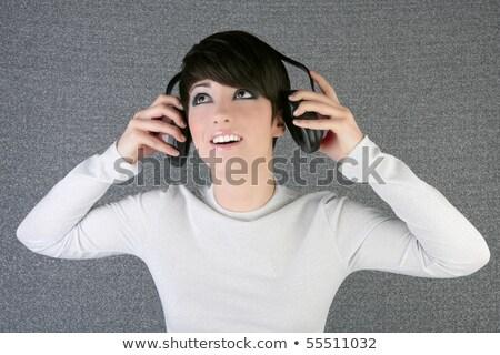 futuristische · mode · vrouw · muziek · hoofdtelefoon · toekomst - stockfoto © lunamarina