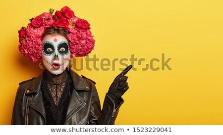 женщину · лицом · удивленный · лице · рук - Сток-фото © kakigori