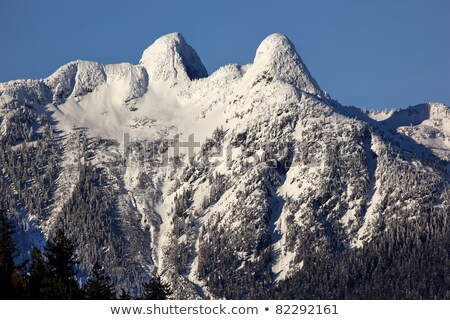 Foto stock: Vancouver · horizonte · dos · montanas · británico · nieve