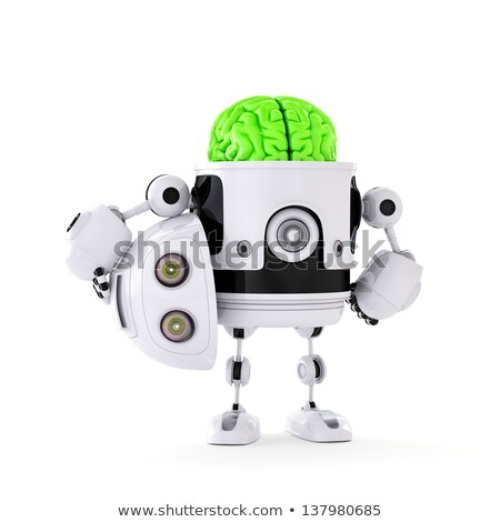 Stock fotó: Android Robot With Huge Green Brain Artificial Intellect Concept