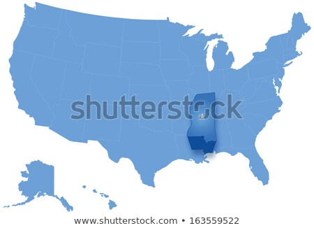 Map of States of the United States where Mississippi is pulled out Stock photo © Istanbul2009