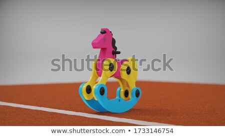 azul · juguete · metal · caballo · aislado · blanco - foto stock © motttive