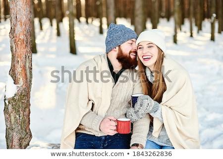 Człowiek pitnej hot herbaty kubek śniegu Zdjęcia stock © stevanovicigor