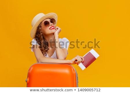 туристических · счастливым · женщину · изолированный · белый · молодые - Сток-фото © kurhan