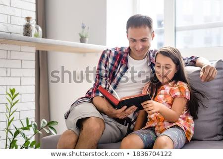 jóvenes · padre · pequeño · hija · Biblia · ninos - foto stock © koca777