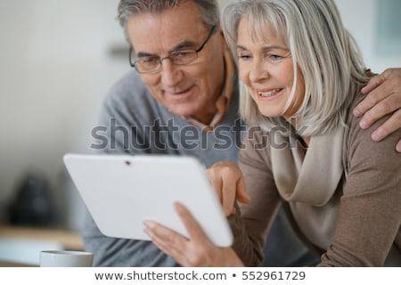 Stock foto: Tablet · glücklich · asian · Freien · Frauen