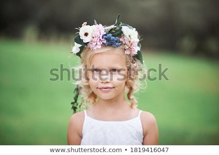 Fiatal lány virágok portré arc szeretet egészség Stock fotó © maros_b