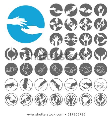 Iconos dibujado a mano ninos siluetas manos cara Foto stock © lirch