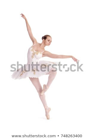 bailarina · vestido · branco · posando · estúdio · azul - foto stock © nejron