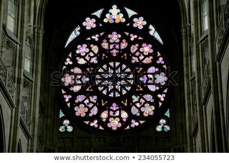 Glasmalerei innerhalb Kathedrale Stadt Fenster Reise Stock foto © Nejron