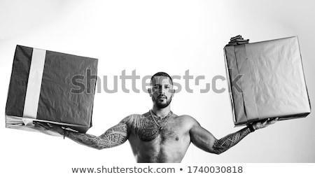 男 入れ墨 筋肉の 胴 ギフトボックス ヌード ストックフォト © Nejron