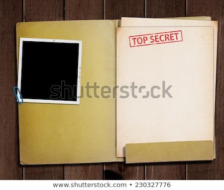 Foto stock: Topo · segredo · documentos · ver · militar · carimbo