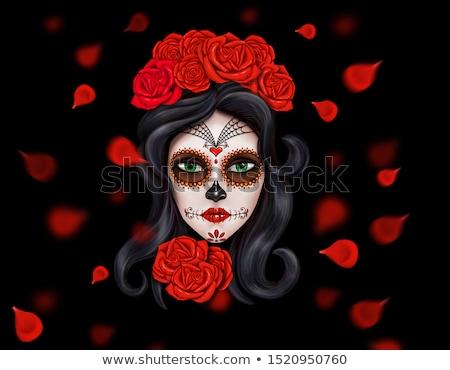 cukor · koponya · lány · nő · virág · arc - stock fotó © amok