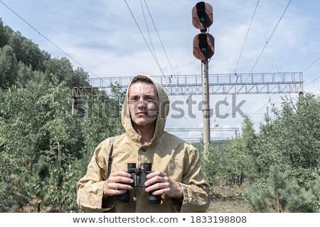 a zombie at the railroad tracks stock photo © nito